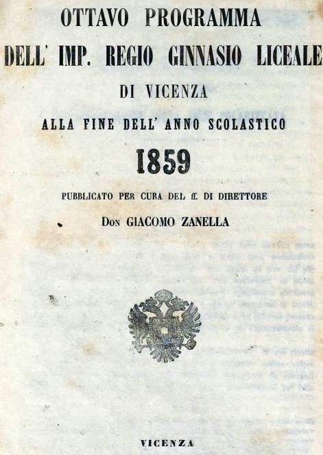 Copertina dell'Ottavo programma dell'Imperial Regio Ginnasio Liceale di Vicenza nel 1859.